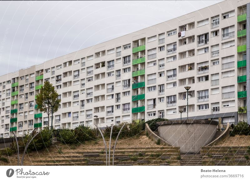 Paris - residential complex in the 14th arrondissement with concrete environment Architecture built Capital city Manmade structures Exterior shot France