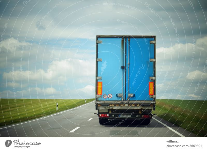 the end of all vice Vice lorry End Blue Street Logistics Country road Freeway Transport Lane markings Truck Utility vehicle Freight transport lorries Rear view