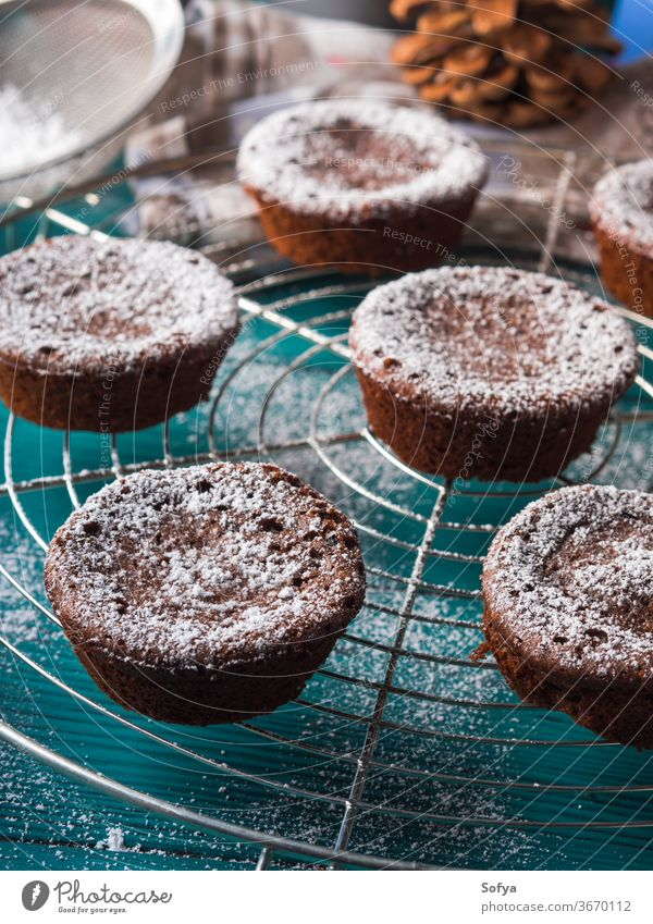 Chocolate winter muffins with icing sugar christmas chocolate cocoa chokecherry cake food treat bake cook recipe breakfast holiday decoration snow flake pine