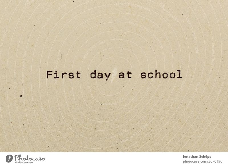 First day at school as text on paper with typewriter first school day Elementary school Paper Recycling Typewriter writing start of school typography Analog