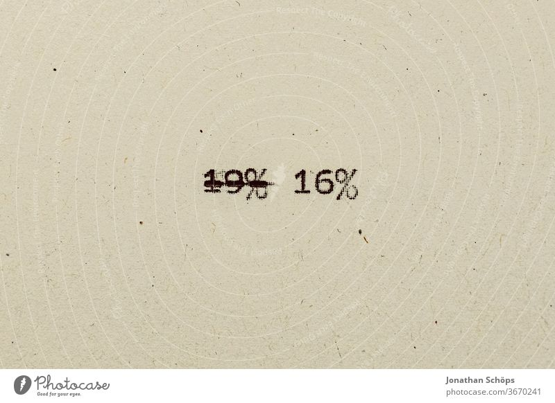 16 percent as text on paper with typewriter 16% 19& corona corona crisis coronavirus covid-19 value added tax Reduction of value added tax