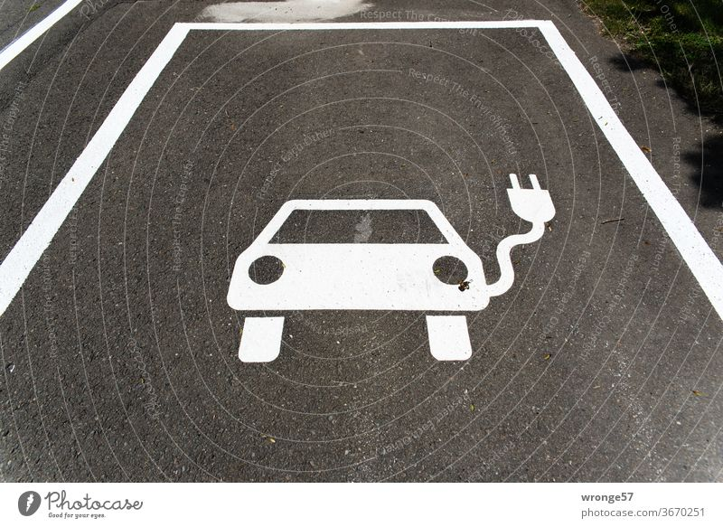 Pictogram marked parking place for electric cars Parking lot pictogram Street Parking space identification Traffic infrastructure Asphalt Signs and labeling