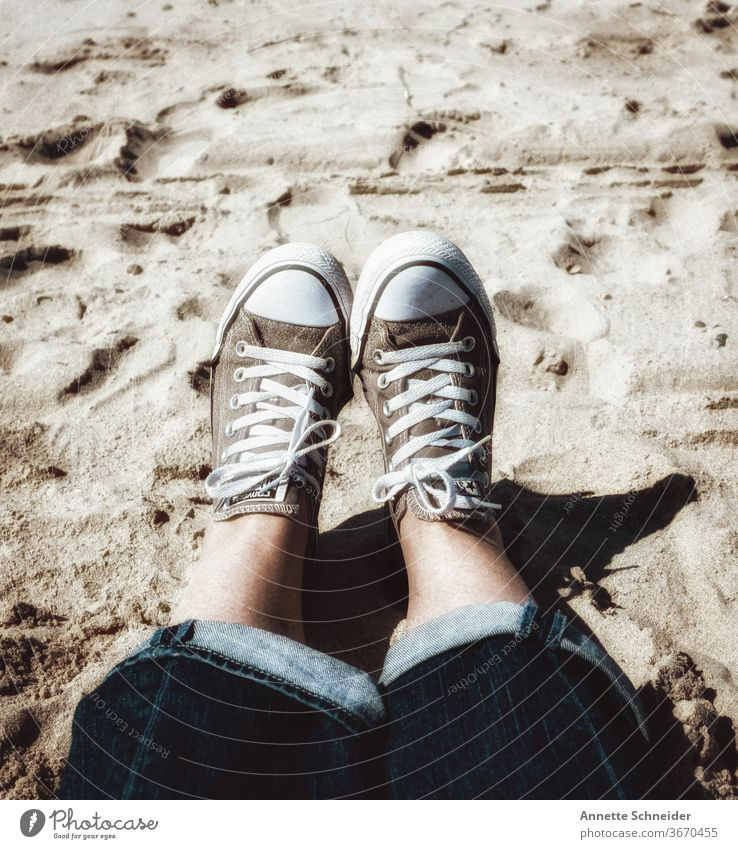 A day at the beach sneakers Beach Ocean Sand Sun Legs feet Vacation & Travel Human being Coast Toes Relaxation Nature Joy