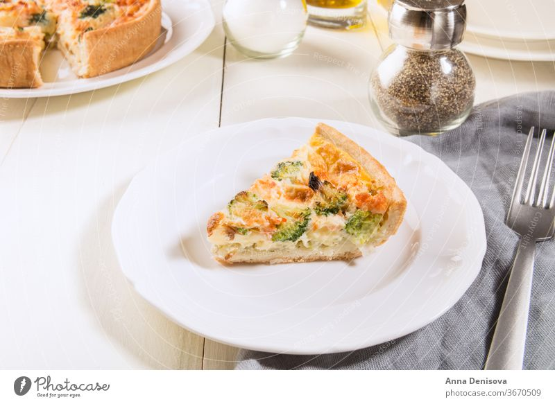 Classic smoked salmon and broccoli quiche classic shortcrust pastry fish florets creamy free range egg custard cheese food spinach baked pie vegetable homemade