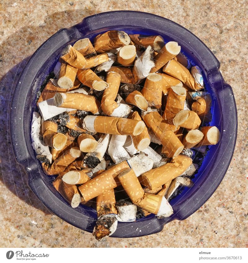blue glass ashtray full of cigarette butts in top view Ashtray Cigarette Butt dumb Fag plan chain smoker Coffin nail Nicotine Smoking smoking Vice Addiction