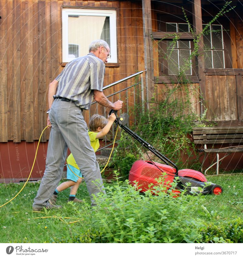 it works better together - grandpa and grandchildren mow the lawn in the garden | favourite person(s) Human being Senior citizen Child Toddler Man Grandfather