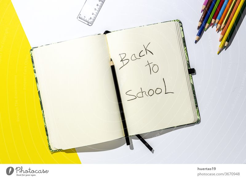 Back to school supplies, notebooks, colored pencils education background office accessories colorful paper copy learning student space group equipment desk