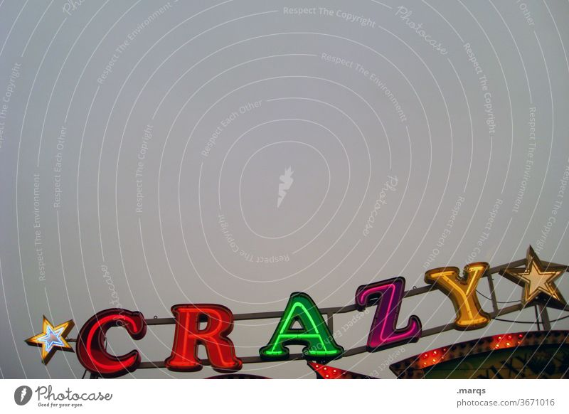 *CRAZY* Characters variegated Neutral Background Cloudless sky Lighting Fairs & Carnivals crazy Crazy neon sign Letters (alphabet) Illuminate
