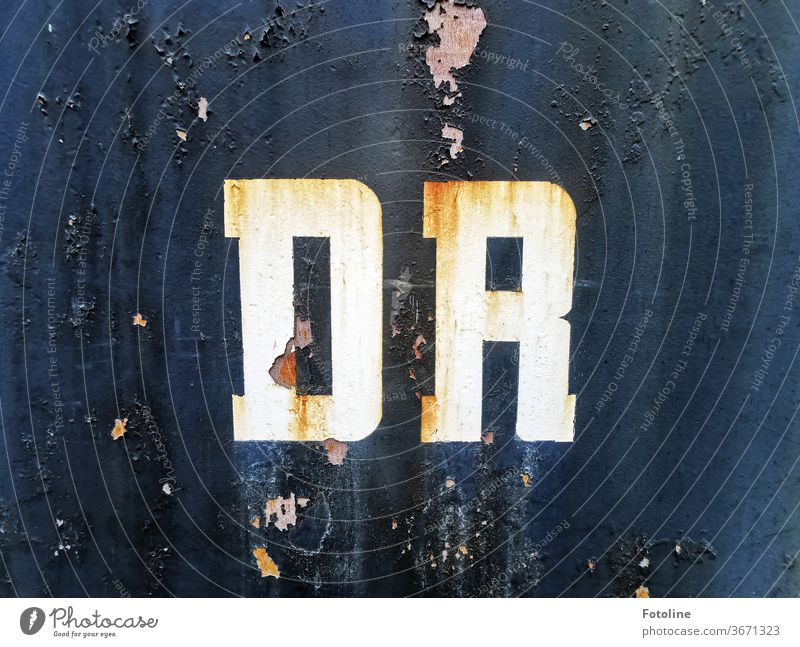 Quite rocked down - or the letters DR on an old, rusty railway carriage Letters (alphabet) writing Sign brand Dr Train railcar Railroad car Transport