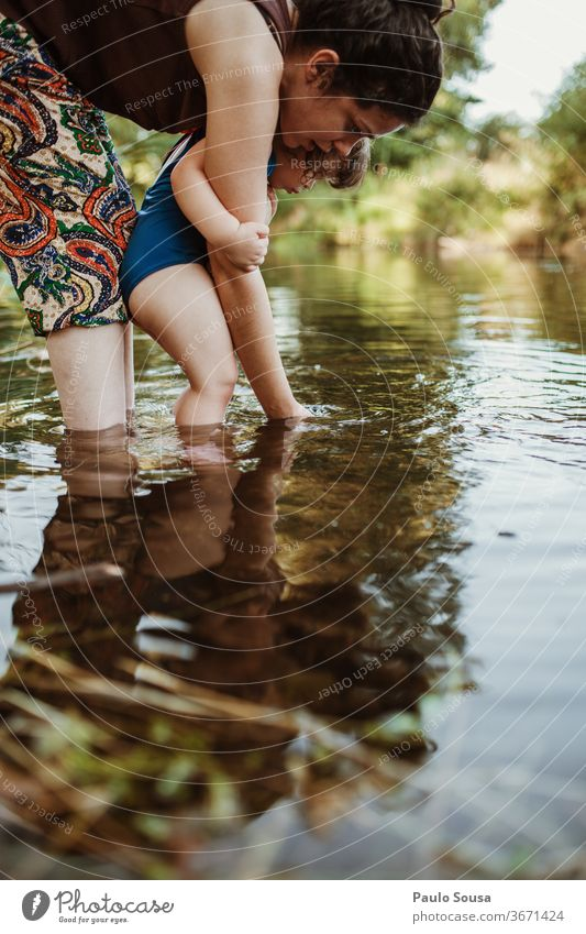 Mother and Daughter playing in the river Summer Summer vacation motherhood Caucasian Family & Relations Travel photography travel Love Lifestyle Happy people