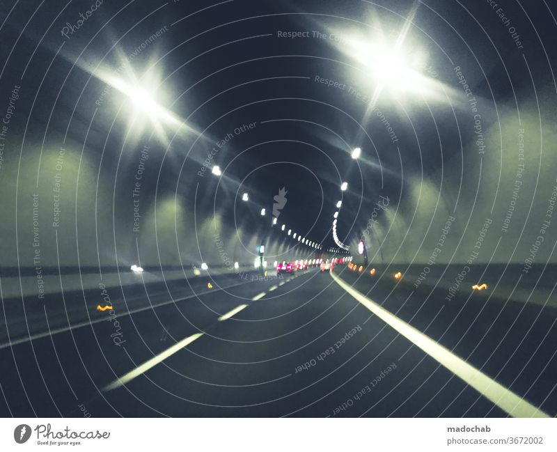 blinding lights Tunnel Driving Car Street Inverted toll Transport Highway Speed Light Road traffic Traffic infrastructure Logistics Movement Colour photo