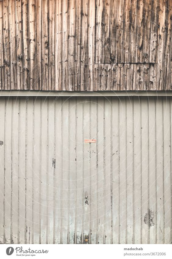 cutting quantity Stripe Pattern Striped Garage Wall (building) wood Aluminium Abstract Detail Structures and shapes Line Background picture Design Style Facade