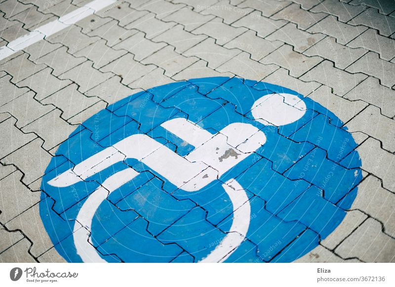 Disabled parking disabled parking Wheelchair Disability friendly Signs and labeling Parking lot Handicapped Mobility handicap symbol consideration Blue