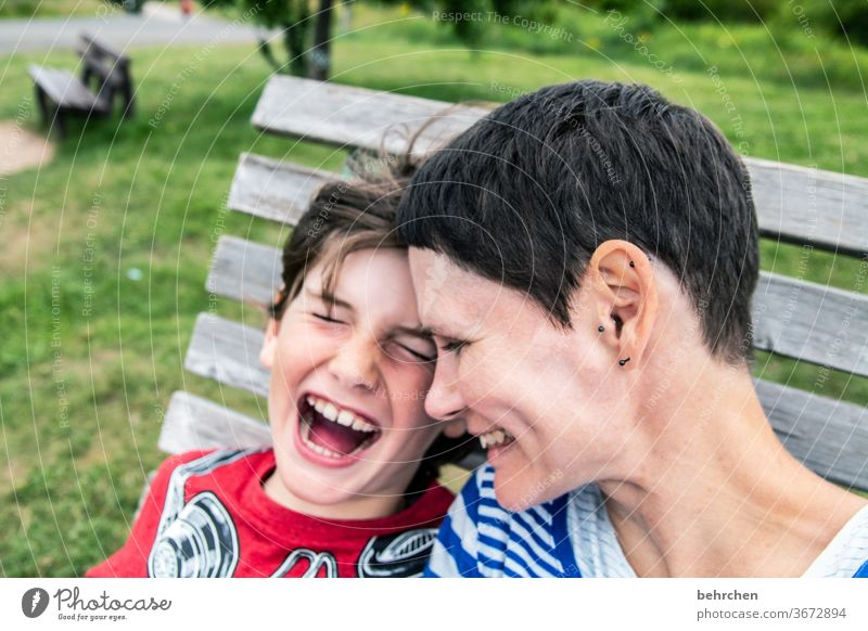 favourite person | because we can laugh so wonderfully together portrait Blur Sunlight Contrast Light Day Close-up Exterior shot Colour photo Motherly love Son