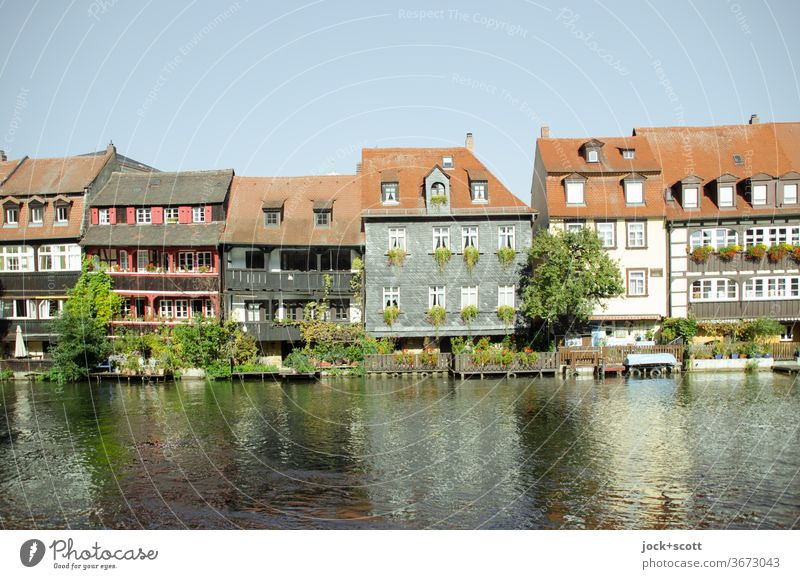 Places of interest Bamberg Architecture Style Half-timbered house Half-timbered facade Old town World heritage Sightseeing Sunlight Regnitz river River