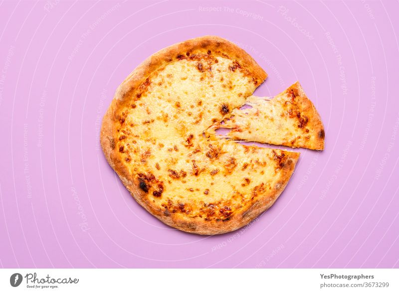 Basic cheese pizza with melted mozzarella and tomato sauce. Slice of pizza Italian above view background basic classic comfort food cooked crust cuisine cut out