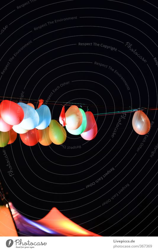 ...hang out Night life Party Event Toys Balloon Plastic Hang Illuminate Tall Crazy Multicoloured Tent Colour photo Exterior shot Macro (Extreme close-up)
