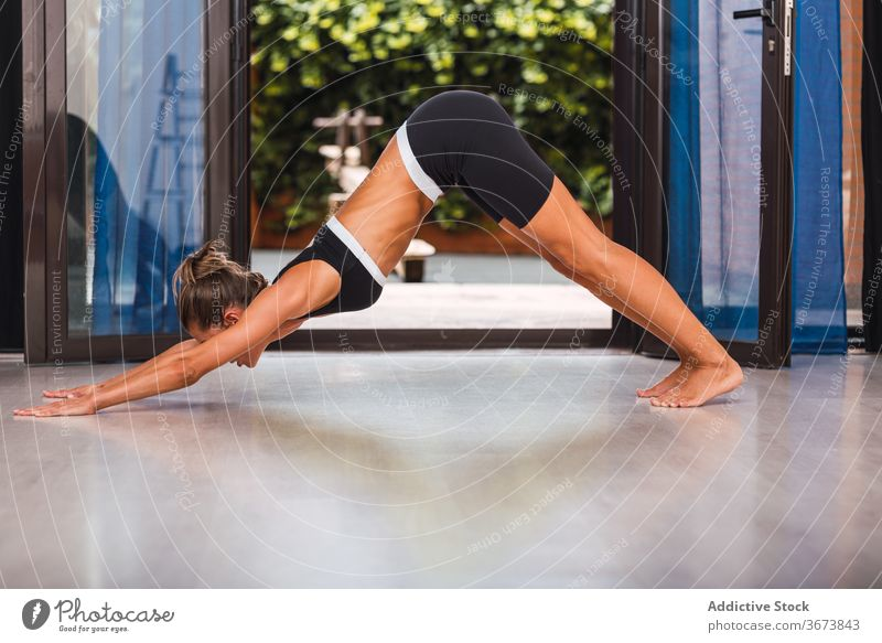 Slim woman doing yoga in Downward Facing Dog position downward facing dog asana pose adho mukha svanasana home serene slim healthy female practice harmony