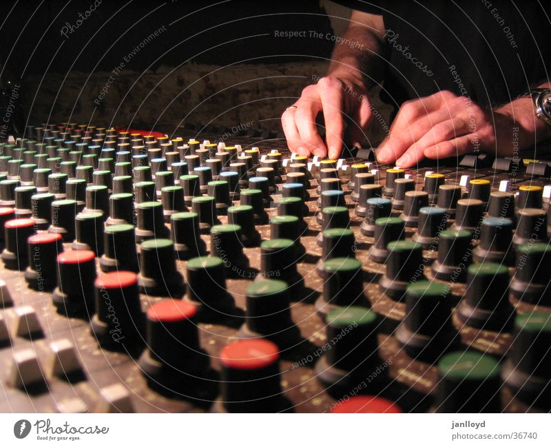 Mixer at work Mixing desk Dark Hand Controller Buttons Workshop Radio (broadcasting) Perspective Music