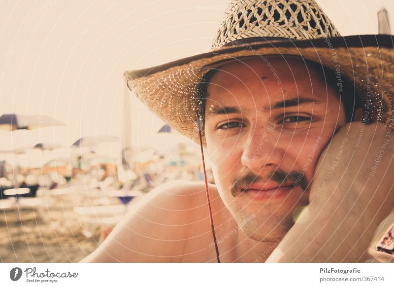 Cowboy on vacation Vacation & Travel Trip Far-off places Freedom Summer Summer vacation Sun Sunbathing Beach Ocean Masculine Young man Youth (Young adults) Head
