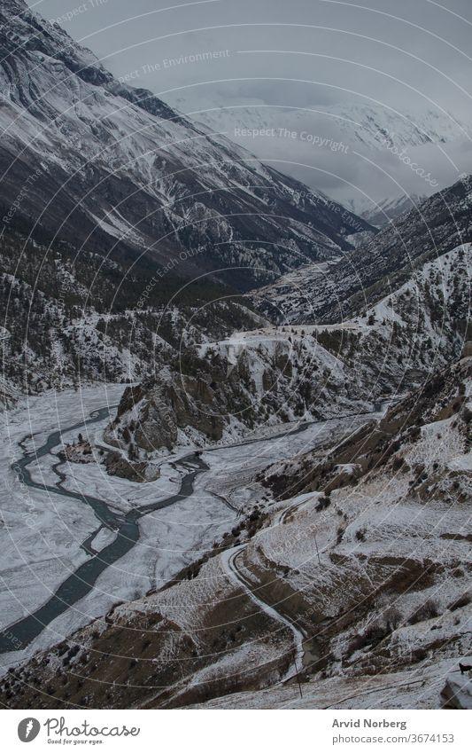 Marshyangdi river by Ledar village, Annapurna circuit, Nepal adventure altitude annapurna annapurna circuit asia blue canyon clouds environment flowing gorge