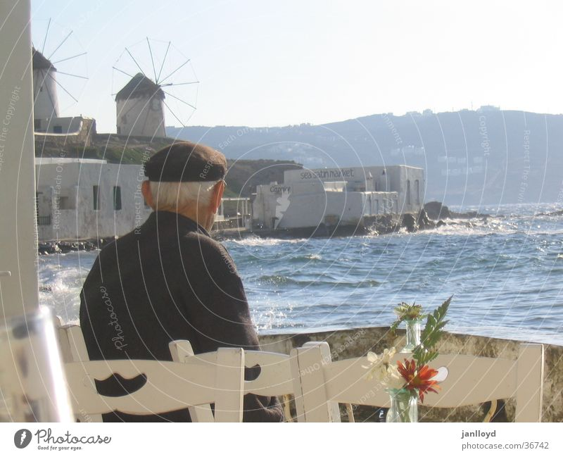 Man Old Ocean Beach Table Chair Greece