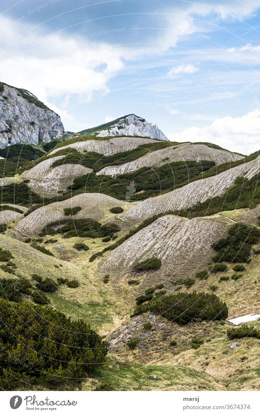 Strange landscape in the limestone mountains hilly Mountain Hiking Landscape Alps Nature Vacation & Travel Chalk alps Peak Rock Clouds Sparse