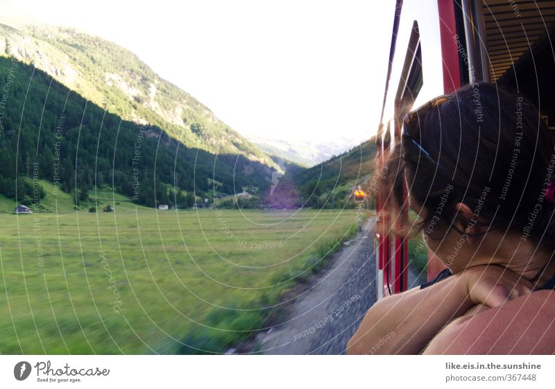 mitm interrail in die schweiz? Human being Vacation & Travel Youth (Young adults) Young woman Relaxation Far-off places Mountain Meadow Feminine Freedom