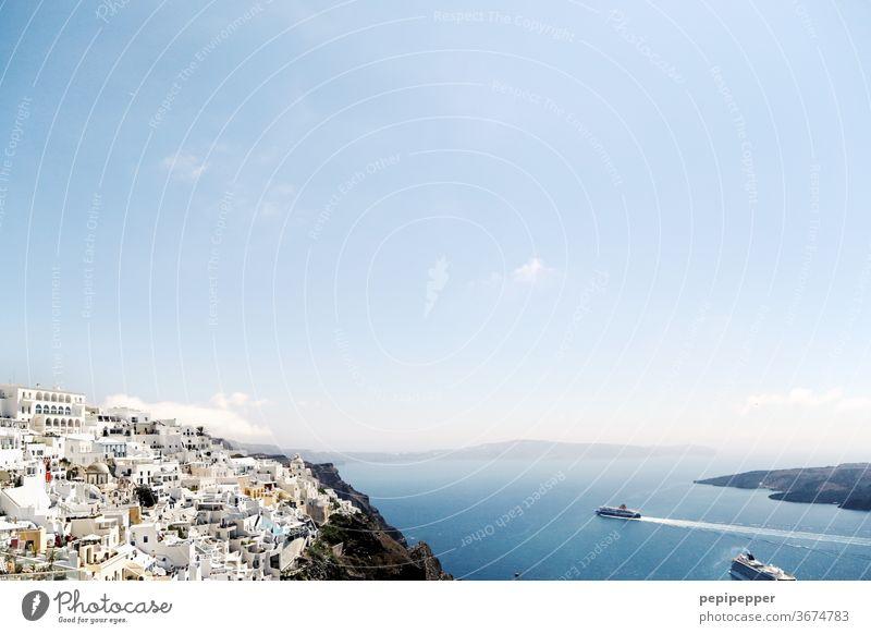 Island Santorini Greece Europe Greek Mediterranean Crete Coast Blue Landscape Rock Tourism Vacation & Travel Summer seascape Water Ocean Cliff Sky