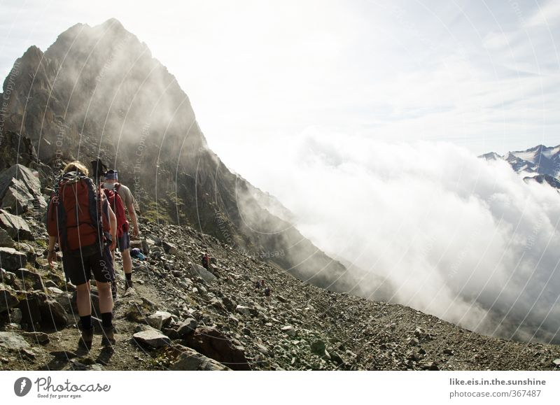 Woman Man Vacation & Travel Landscape Clouds Adults Far-off places Environment Mountain Life Freedom Couple Rock Leisure and hobbies Fog Hiking