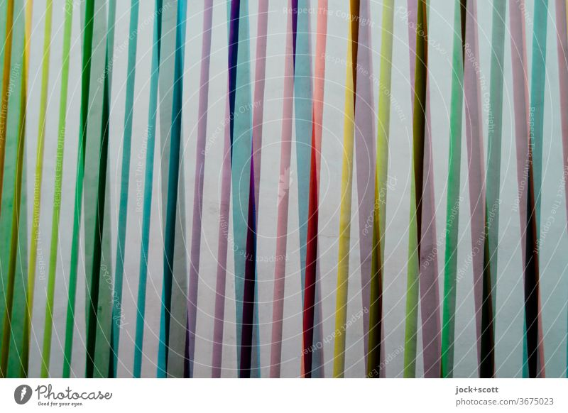 Arrangement of many coloured stripes Stripe Structures and shapes Abstract Line Background picture Many Surface Side by side Creativity Decoration