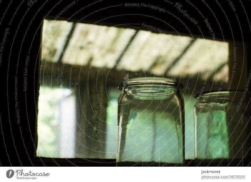 Glass lives through light Decoration Transparent Light (Natural Phenomenon) detail Living or residing green Blur Detail Window lost places Window pane