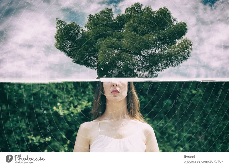 the trees in the head woman people human thinking ecologic greeny forest cloud sky mountain hill nature outdoor tourism trip travel view scene cloudy leaf