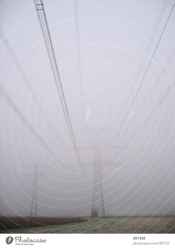 Electricity in fog Fog Field Autumn Winter Electricity pylon Cable unfastened