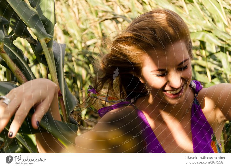 Human being Nature Youth (Young adults) Beautiful Summer Joy Young woman Adults 18 - 30 years Feminine Emotions Laughter Happy Natural Field Contentment