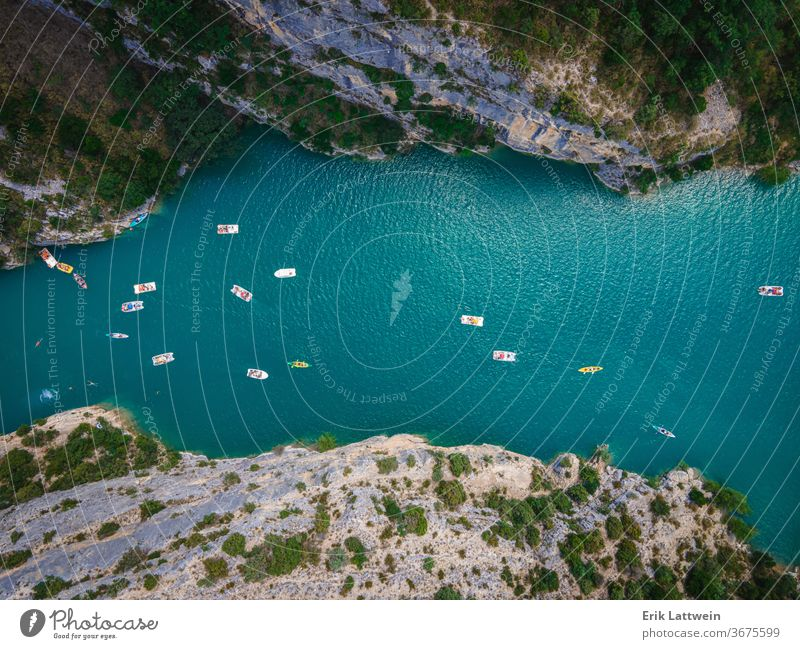 Boats on Verdon River in France - famous landmark beautiful europe france nature outdoor canyon forest gorge green landscape provence rock scenery summer