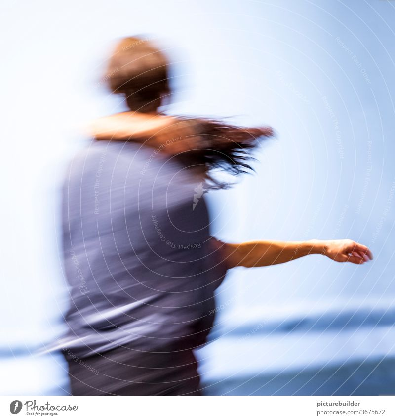 Dance in the river dance Movement Motion blur Couple Dynamics two together Trust togetherness Team arm hair Blue Man Woman Interior shot Colour photo Together
