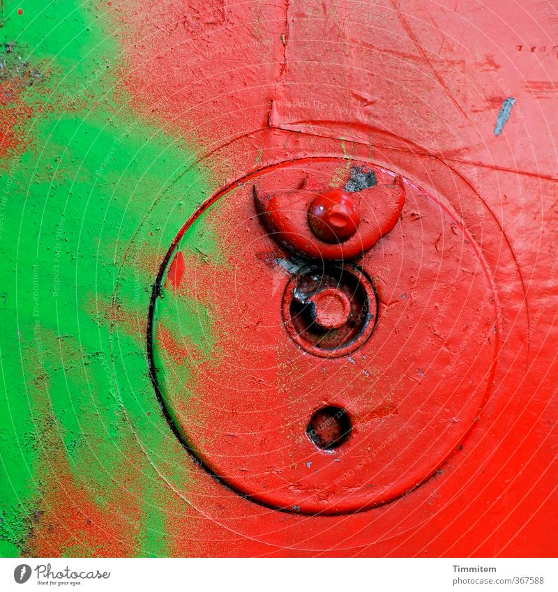 Red-green weakness. Box-type truck Box lock Metal Plastic Line Athletic Crazy Wild Green Emotions Circle Cap Broken Colour photo Multicoloured Exterior shot