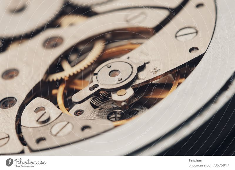 Gears in Antique Watch.  internal mechanism of mechanical watches cog machinery time clock clockwork close-up technology wristwatch engine gear gold ideas