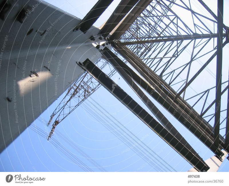 high High-power current Electricity pylon Industry Blue sky from bottom to top