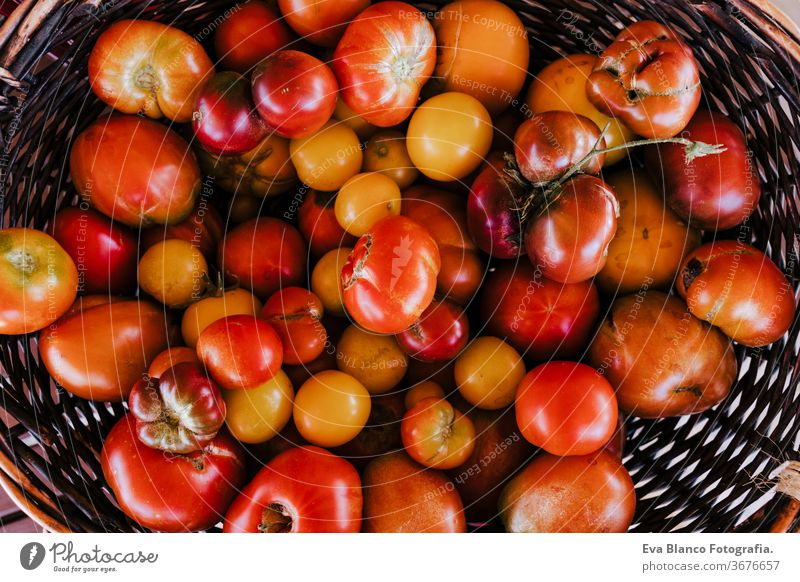 top view of a wooden box of tomatoes, healthy food concept. Nature vegetables garden nobody red gardening edible single delicious ingredient nourishment cooking