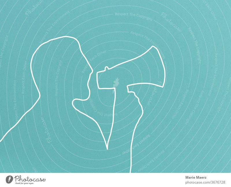 Attention announcement - Man with megaphone Line drawing Neutral Background Minimalistic Illustration Design Silhouette Drawing Abstract Human being Megaphone