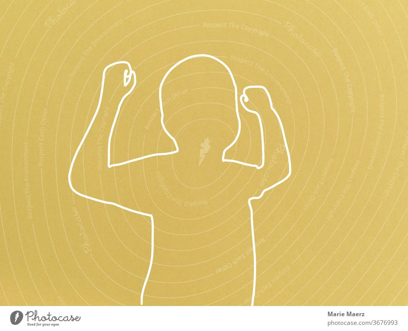 Strong children - line drawing Abstract Human being Silhouette Line drawing Illustration Neutral Background Design Drawing Minimalistic Yellow youthful