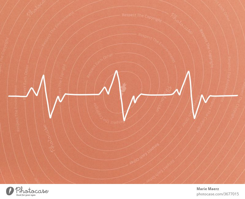 Heartbeat Line drawing Neutral Background Illustration Minimalistic Human being Silhouette Drawing Copy Space top Healthy heart rate Deserted Abstract Design