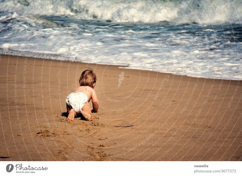 Infant boy crawling on sand towards ocean wave. Baby child crawl on all fours on tropical beach reaching waterfront rear view. Toddler curiosity of seaside at summertime. Infancy exploration.