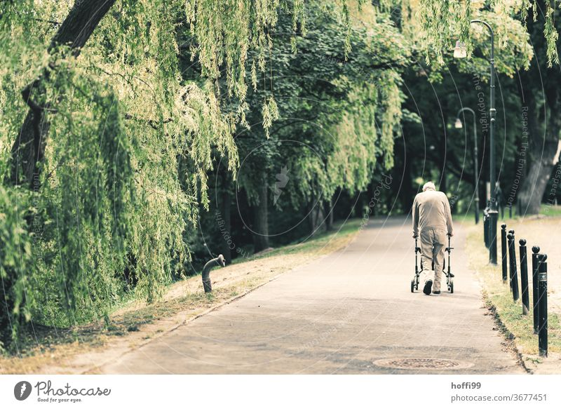 the old man makes his daily rounds in the nearby park age Old Senior citizen Home for the elderly Park To go for a walk on one's own Loneliness