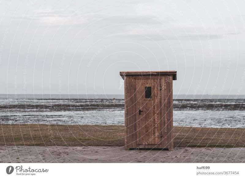 the small hut at the sea at low tide Idyll Minimalistic Beach Small Summer Lakeside North Sea Relaxation High tide ebb and flow Island Slick Mud Wet Tide Nature