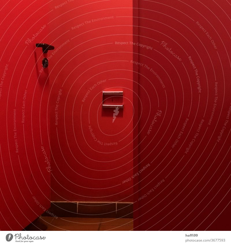 Red light loo - no more toilet paper ... Toilet LAVATORY red room Toilet paper Bathroom Paper Tile john state of emergency