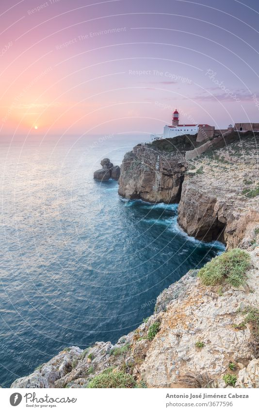 Sunset at Cape St. Vincent, Continental Europe's most South-western point, Sagres, Algarve, Portugal Cliff Clouds Coast Europa Holidays Landscape LightHouse