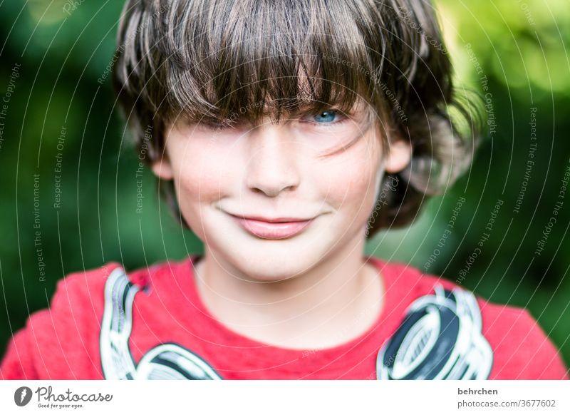 favourite person | charm bolt Cool (slang) Brash long hairs Colour photo Family Close-up portrait Contrast Light Day Face Infancy Boy (child) Child Sunlight